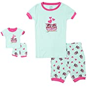 Leveret Shorts Kids & Toddler Pajamas Matching Doll & Girls Pajamas 100% Cotton Pjs Set (Owl,2 Toddler)