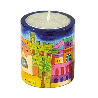 Holder Emanuel Wood Candle - Yair Emanuel Jewish Judaica Memorial Candleholder with Jerusalem Depictions