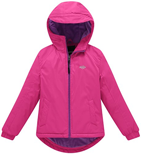 Wantdo Girl's Hooded Rain Jacket with Fleece Lining Windcheater Outdoor Short Parka(Rose Red, 6/7) by Wantdo