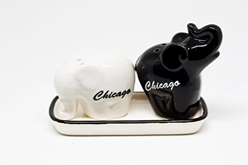 Souvenir Salt Pepper - Chicago Souvenir Elephant Salt and Pepper Shaker Set (3 Tall x 5 Long x 2.5 Wide)
