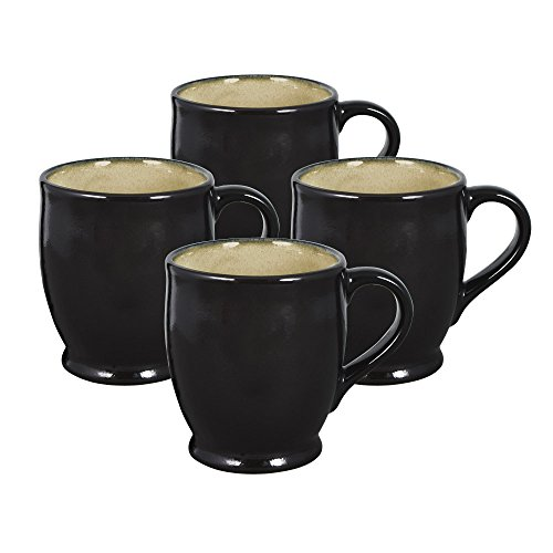 Gourmet Basics Belmont Black Mugs, 13-Ounce, Set of 4