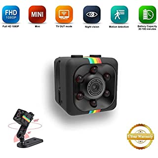 Mini Spy Hidden Portable Camera, Small HD 1080P Wireless Security Cam with Night Vision and Motion Detection Built-in Battery for Nanny/Housekeeper (Small)