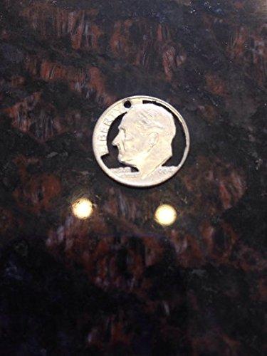 1964 USA silver dime cut coin