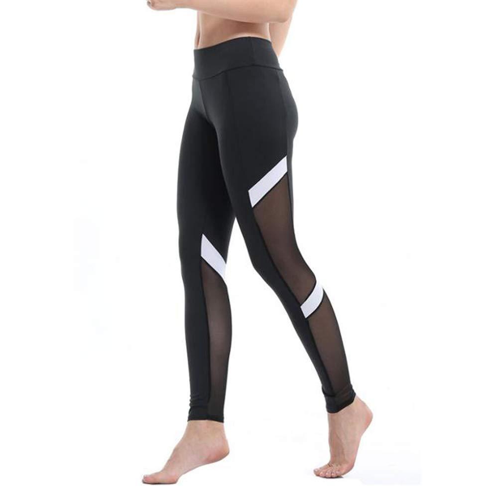 PFMY.DG De Las Mujeres Raya Malla Pantalones de Yoga ...