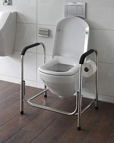 WC Aufstehhilfe WC 60 aus Edelstahl mit rutschfesten Füßen Toiletten Stützgestell
