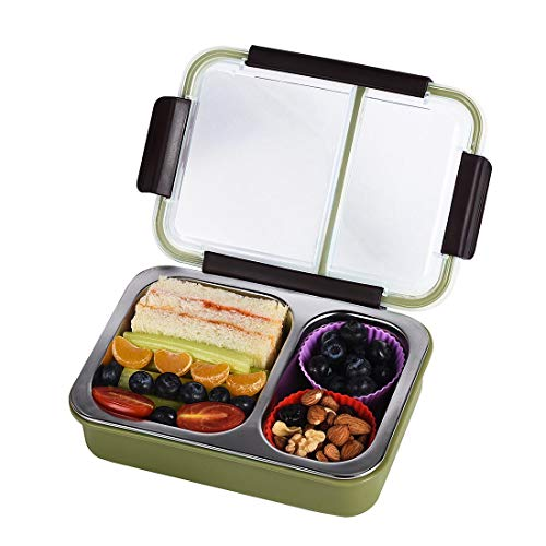 Bento Box 2 Compartments Stainless Steel Lunch Box for Adults and Kids, Portion Control Lunch Containers Leakproof, BPA Free - Green