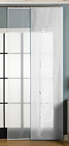 2er-Pack Schiebegardine Flächenvorhang Avila Lasercut Wildseide Optik Voile , Weiß, 245x60 cm (HxB) inkl. Paneelwagen und Beschwerungsstangen, 165610
