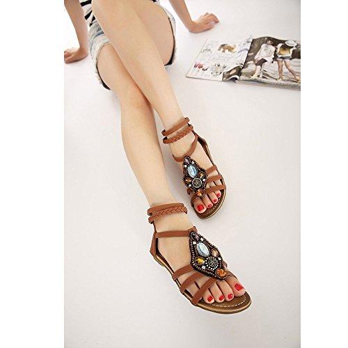 Granos de la flor de las mujeres del verano de Bohemia de los zapatos flip-flop sandalias planas Morron