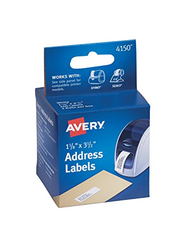 Labelwriter Printers 130 Labels (Avery Labels for Dymo Label Printers, Same Size as Dymo 30252, White, 1-1/8'' x 3-1/2'', 2 Rolls of 130 (4150))