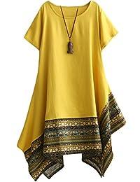 Minibee Women's Ethnic Cotton Linen Short Sleeves Irregular Tunic Dress