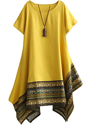 Yellow Cotton Dress - Minibee Women's Ethnic Cotton Linen Short Sleeves Irregular Tunic Dress (L, Yellow)
