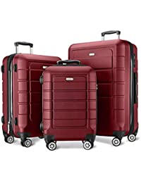 Luggage Sets Expandable PC+ABS Durable Suitcase Double Wheels TSA Lock Red Wine