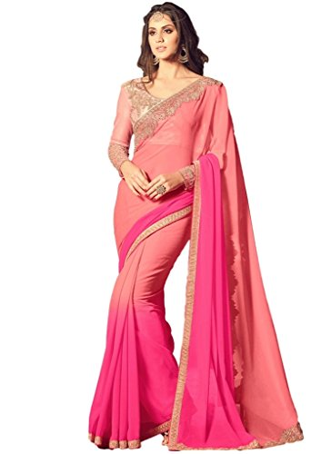 EthnicWear Elegant Designer Georgett Party Wear Shaded Pink Color Embroidered Indian Women Best Saree