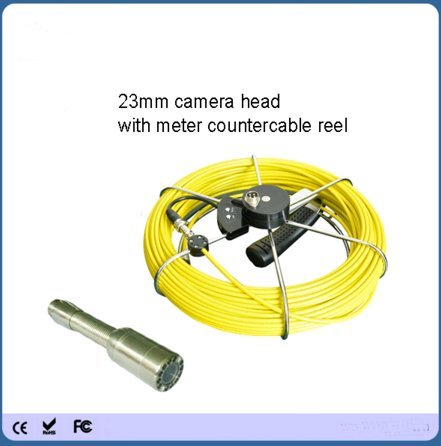 Kohstar 12PCS led light 23mm waterproof sewer video inspection camera with 50m meter couter fiberglass push rod cable meter couter ()