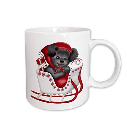 3dRose Anne Marie Baugh - Christmas - Cute Puppy Sitting In A Christmas Sleigh Illustration - 15oz Two-Tone Red Mug - Two Tone Sleigh