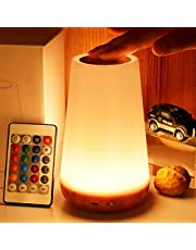 LED night light, TAIPOW bedside table lamp for baby kids room bedroom outdoor, dimmable eye caring desk lamp with color changing touch senor remote control USB rechargeable