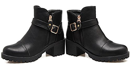 Aisun Womens Casual Double Zip Up Buckle Strap Round Toe Ankle Boots Mid Block Heel Booties Shoes With Zipper Black R2jehK