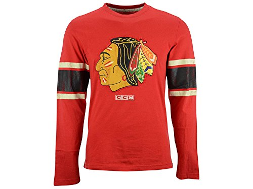 NHL Chicago Blackhawks Men's Long Sleeve Logo Crew Tee, Red, Large (Nba Reebok Jersey Authentic Red)