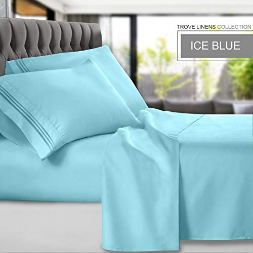 Trove Linens Premium Brushed Microfiber 1800 Bed Sheets 6 Pieces | Hotel Collection | Luxury, Hypoallergenic, Ultra Soft Wrinkle & Fade Resistant, Deep Pocket (Ice Blue, King) (Luxury Linens)