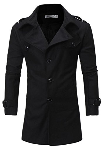 er Casual Slim Warm Single-breasted Trench Coat Outwear black M (Wither Half Wool)