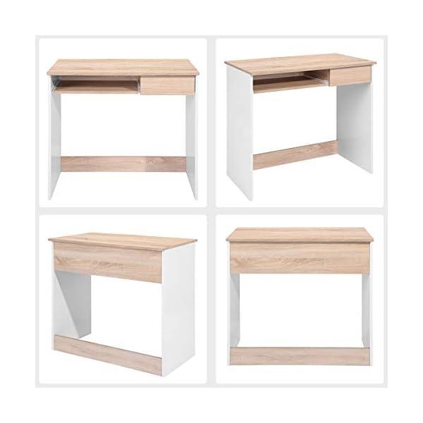 Bureau d'ordinateur Writing Bureau en Bois avec tiroirs et tiroir à Clavier, Table PC pour Adultes et Enfants, 80 x 45 x…