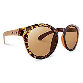 Treehut Wooden Bamboo Sunglasses Temples Round Vintage Oversize Wood Sunglasses 1 NATURE-FRIENDLY – The Treehut Wooden Bamboo Sunglasses in Round Vintage Style are environmentally conscious because they are made of highly sustainable bamboo. When bamboo is harvested, it renews itself readily, making it an endlessly renewable resource. TIMELESS DESIGN – These vintage sunglasses are classic and elegant, exuding a trendy feeling with hints of an old-school style, making them ideal for trips to the beach or leisurely strolls around town. They best complement square-shaped faces, but they are also suitable for a variety of other face shapes. They can be worn by ladies and gentlemen alike. HIGH-GRADE LENSES – The brown lenses offer 100% protection against harmful UVA/UVB rays, allowing you to have all the fun under the sun without straining your eyes.