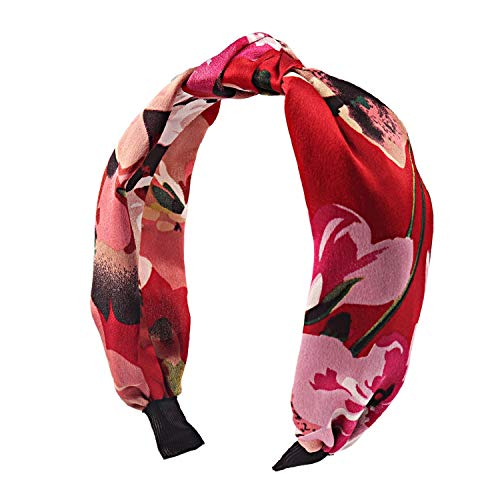 Solid Soft Knotted Flamingo Headband Hairband for Women Lady Bow Hair Hoop Hair Accessories Headwear,Red2