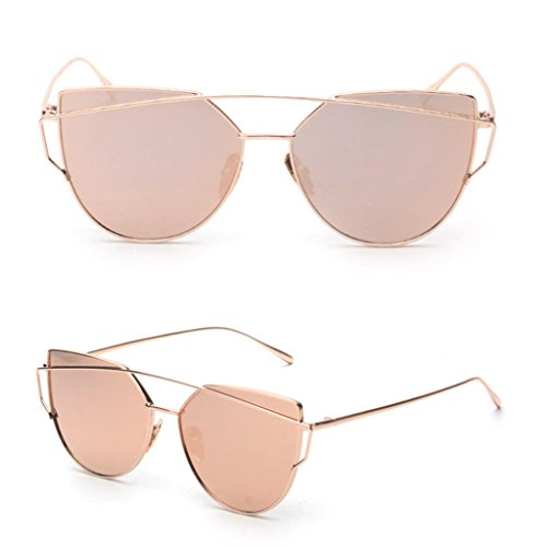 TONSEE Fashion Twin-Beams Classic Women Metal Frame Mirror Sunglasses Cat Eye Glasses (Rose (Mirror Beam)