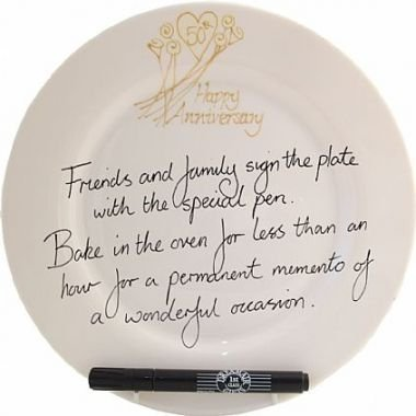 Golden Wedding 50th Anniversary Signature Plate (Round) Cream dreamair ltd