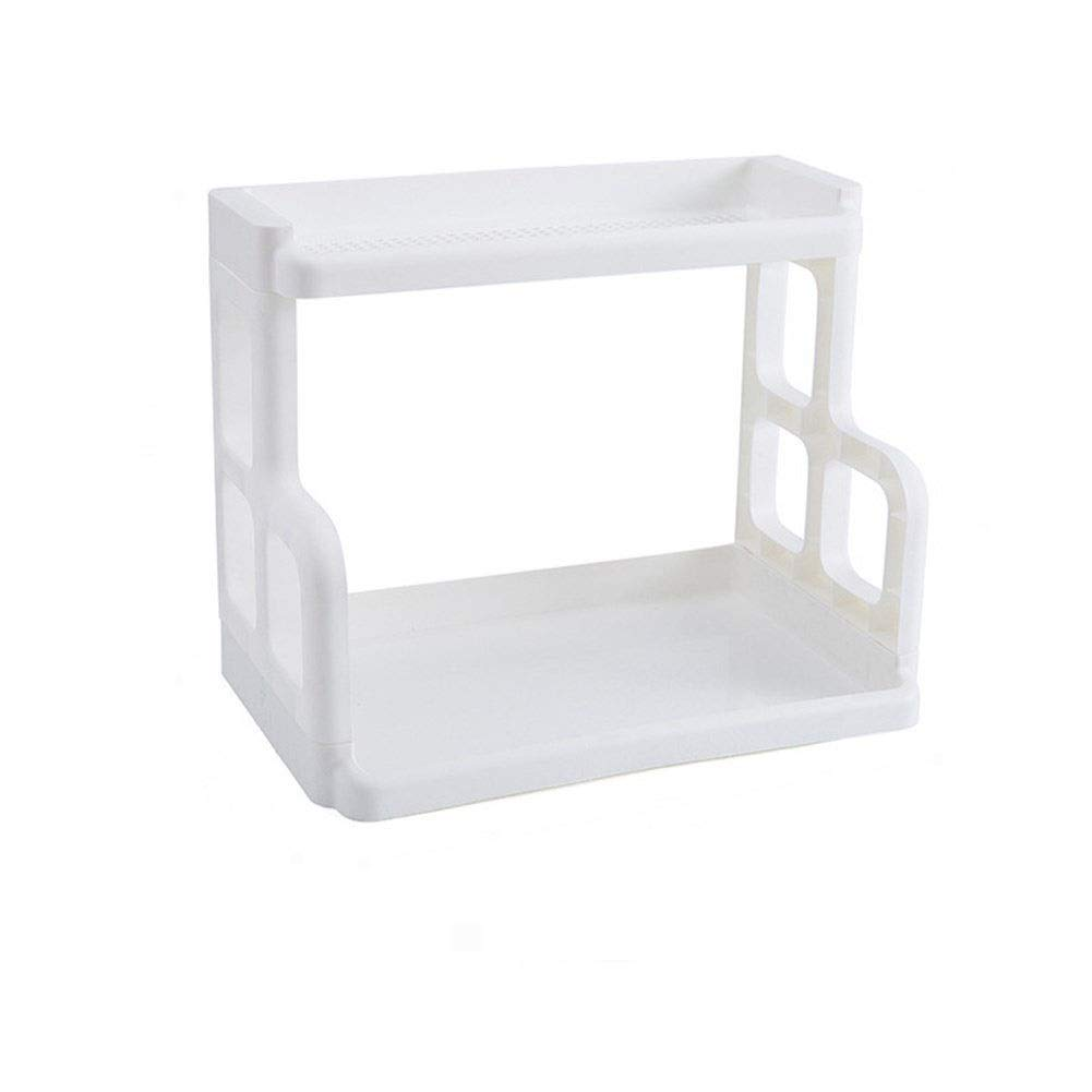 Kitchen Condiment Storage Rack Plastic Load-bearing Strong Space Saving Large Capacity Thick Material Durable Detachable Easy To Clean Beige White 402432cm (Color : White, Size : 402432cm)