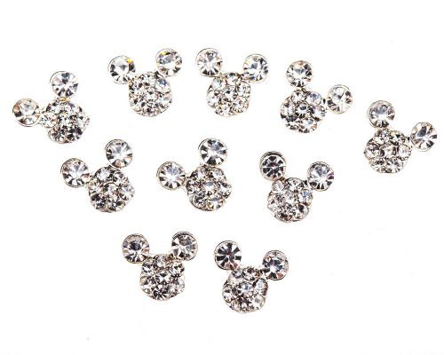 10 Alloy Crystal Mouse Head Rhinestones Gems 3D Nail Art Decorations by Cheeky®
