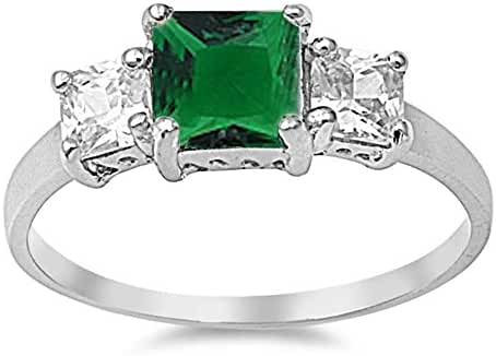 Princess Cut Simulated Green Emerald & Cubic Zirconia .925 Sterling Silver Ring Sizes 4-10