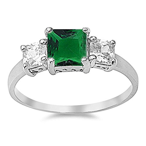 Princess Cut Simulated Green Emerald & Cubic Zirconia .925 Sterling Silver Ring Sizes 7