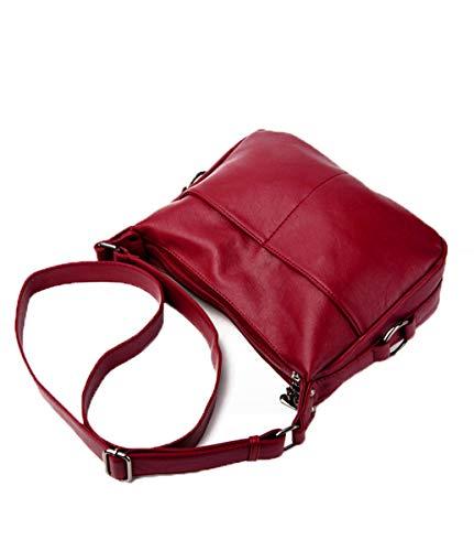 Casual Diagonal Simple Un Femenino De Mujer Para Vino Púrpura Fannb Bolsa Rojo Bolso Hombro Bandolera Suave Cuero XxPUttgwnq