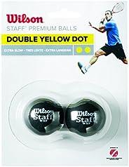 Wilson Staff Squash Balls-2 Blister Pack, Double Yellow Dot