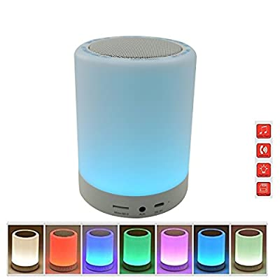 Pococina US-BS001 Indoor Outdoor Color Changing Tap Light Night Light with Wireless Bluetooth Speaker Hands-free TF Card Supported LED Touch Lamp Desk Lamp