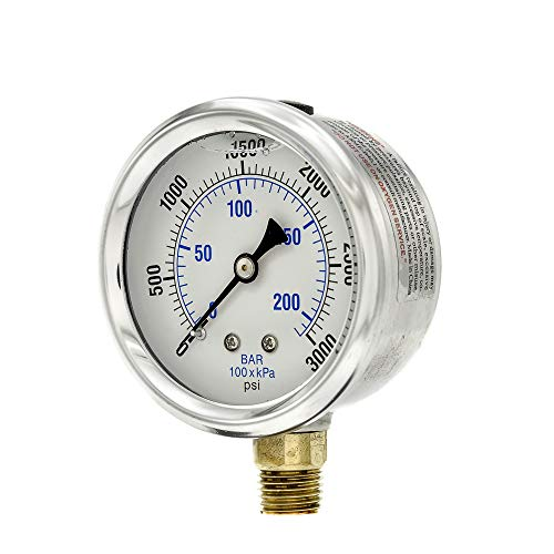 (PIC Gauge PRO-201L-254P Glycerin Filled Industrial Bottom Mount Pressure Gauge with Stainless Steel Case, Brass Internals, Plastic Lens, 2-1/2