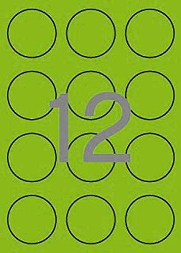 20H Etiquetas Redondas Verde flúor diámetro 60 ø mm Apli 02869 ...