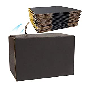 Black Corrugated Mailer Boxes, 25 Pack 6.8 x 3.7 x 4.5 inch Sturdy Cardboard Shipping Boxes, Self Stick Zipper Packaging…