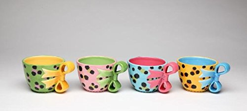 3 Inch Colorful Leopard Print Teacups with Bow Handles, Set of 4