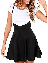 Womens Suspender Skirts Dress Basic High Waist Versatile...