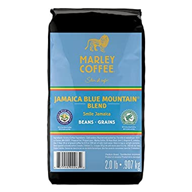 Marley Coffee Smile Jamaica, Jamaica Blue Mountain Blend, Whole Bean Coffee, 2 Pound