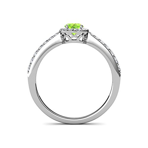Oval 7x5mm Peridot and Diamond (SI2-I1, G-H) Halo Engagement Ring 1.38 Carat tw in 14K White Gold