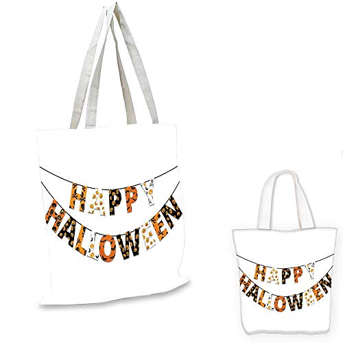 Halloween canvas shoulder bag Happy Halloween Banner Greetings Pumpkins Skull Cross Bones Bats Pennant canvas lunch bag Orange Black White. 15