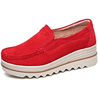 Sanyes Women Platform Slip On Loafers Comfort Suede Moccasins Wide Low Top Wedge Shoes
