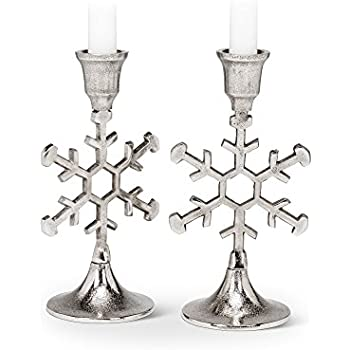 Abbott Collection Snowflake Outline Taper Candle Holder, Set of 2
