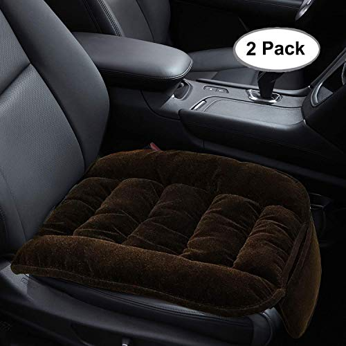 Car Seat Cushion, 2PC Thicken Cushion Nonslip Car Interior Seat Cover Pad Mat Universal Fit for Auto Supplies Office Chair with Premium Pearl Cotton (Brown)
