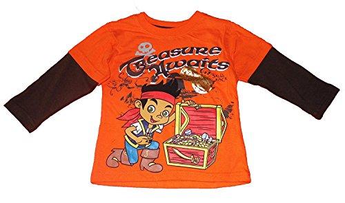 Jake and the Neverland Pirates Toddler Boys Long Sleeve Shirt Orange (3T) ()