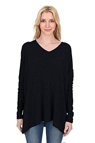 - State Fusio Women's Cashmere Wool Long Sleeve Loose Oversized Pullover V Neck Poncho Sweater Black
