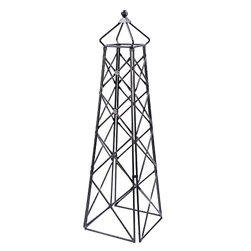 Achla Designs OBL-25 Lattice Wrought Iron Garden Obelisk Trellis, Graphite ()